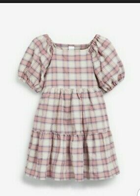 £5.50 • Buy Girls Next  Pink Cotton Checked Tiered Dress Brand New With Tags Age 7