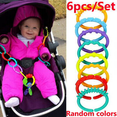 £1.99 • Buy 6pcs Rainbow Teether Ring Links Plastic Baby Kids Infant Stroller Play Toys