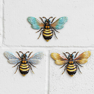 £15.99 • Buy 3 X Bee Metal Garden Wall Art Fence Ornament Decoration Plaque Home Decor Gifts