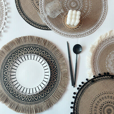 £5.99 • Buy 1Pc Round Embroidery Lace Table Placemat Non-slip Coffee Cup Mat Furniture Decor