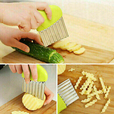 £2.98 • Buy Potato Chip Cutter Stainless Steel Salad Vegetable Crinkle Wavy Kitchen Tool UK