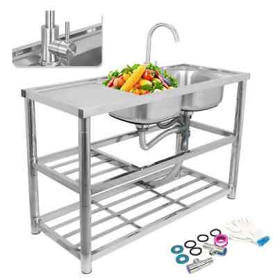 £218.65 • Buy Commercial Kitchen Sink Catering Stainless Steel Prep Table Drainer Double Bowl