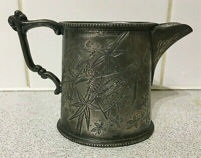 £9 • Buy Small Vintage Antique Pewter Milk Jug, Bamboo Leaf Butterfly Design, 8.5cm Tall