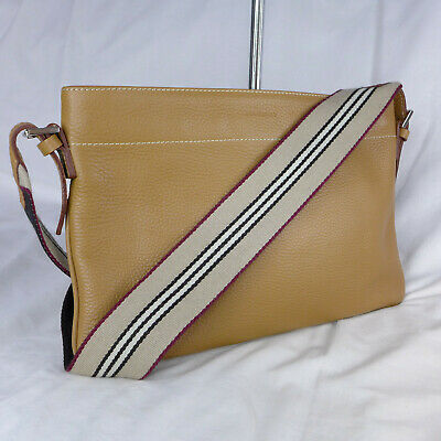 £42 • Buy Authentic Vintage Burberry Brown Leather Small Crossbody Messenger Shoulder Bag