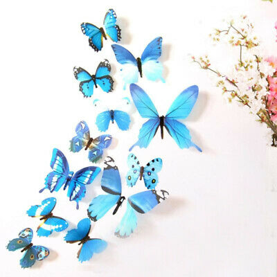 £0.72 • Buy Wall Sticker PVC Room Decoration Home Décor Stickers 3D Butterfly 12 Pcs