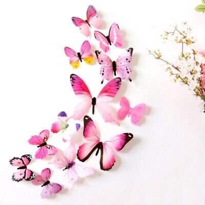 £0.72 • Buy Wall Sticker PVC Decal Room Decoration Home Decoration Decor 12 Pcs 3D Butterfly