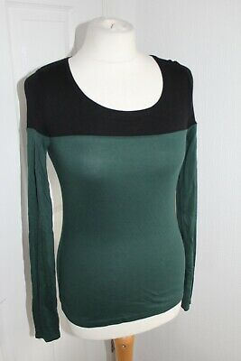 £5.50 • Buy Next Ladies Black Green Jersey Style Long Sleeve Top Size 6 CLEARANCE