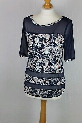 £5.99 • Buy Next Ladies Navy Blue Floral Short Sleeve Top Size 6 Summer Holiday CLEARANCE