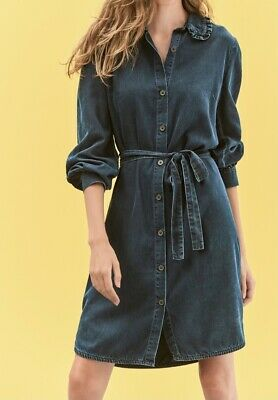 £2 • Buy Next Denim Style Frill Collar Belted Button Front Shirt  Dress Size 18 New Tags