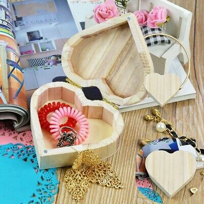 £4.45 • Buy Wooden Heart Shaped Small Jewelry Storage Box DIY Personalise Decorate Craft