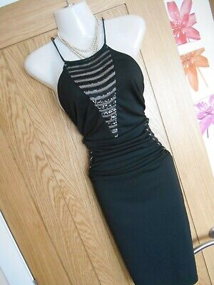 £20 • Buy **stunning** Lipsy London Size 12 Black Nude Sequin Wiggle Dress *fast Postage**