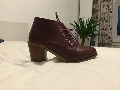 £2.20 • Buy Burgundy Lace Up Ankle Boots. Size 3. Boohoo. Excellent Condition. Hardly Worn.