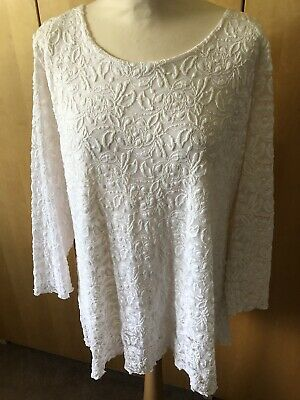 £5.99 • Buy Forever By Michael Gold Ladies Top Size XXL White - Lace Overlay With Sequins