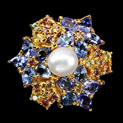 £0.96 • Buy Round Creamy White Pearl 6mm Sapphire Tanzanite 925 Sterling Silver Ring Size 8
