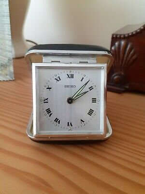 £15 • Buy Vintage SEIKO Travel Clock With Black Leather Case Wind Up Clock