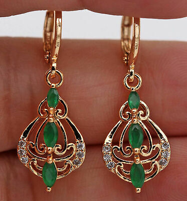 £12.99 • Buy ❤️Earrings 9ct Gold Classic Emeralds ❤️ Diamond Drop 33 Mm Mother Gift Silver ❤️