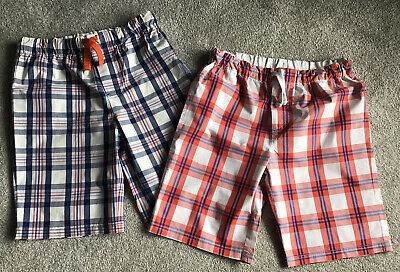 £22 • Buy Boden Boys Lightweight Cotton Summer Checked Shorts X2 Age 11-12 Years