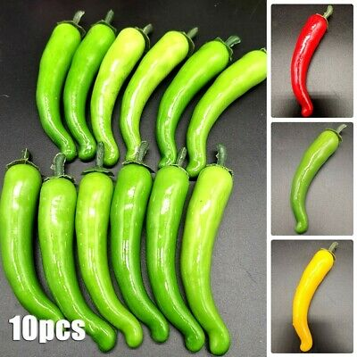 £6.23 • Buy 10x PVC Large Artificial Chillies Fake Fruit Vegetables Peppers 3 Colors 12cm