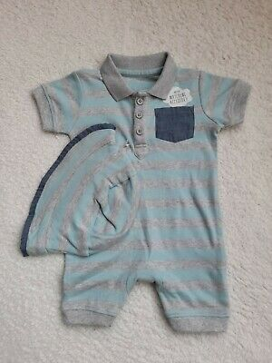 £2.99 • Buy Baby Boys George 2 Piece Summer Romper Outfit And Matching Hat 0-3 Months BNWOT