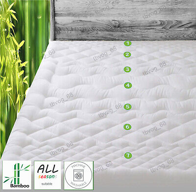 AU59 • Buy Quality Thick Bamboo Mattress Topper Pillowtop Fully Fitted Mattress Protector