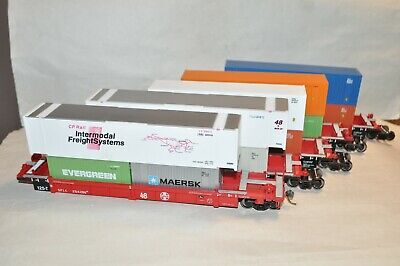 $ CDN31.67 • Buy HO Walthers Santa Fe Ry Thrall 48' Containers Well Cars Train Set 5 Articulated