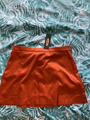 £5 • Buy Urban Outfitters Satin Orange Pleated Skirt Size L