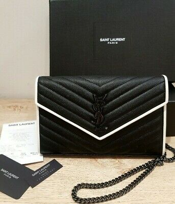 AU1050 • Buy Ysl Monogram Black And White Chain Wallet Bag Authentic New