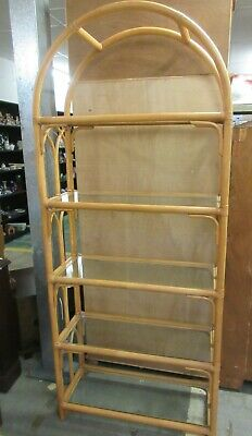 £60 • Buy Vintage Wicker Cane Shelving Unit Tall Bookcase Display Unit 5 Glass Shelves