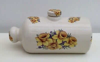 £10 • Buy Vintage Heron Cross Pottery Daffodils Decorated Hot Water Bottle Bed Warmer