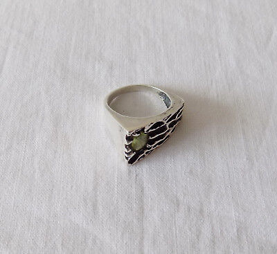 £29 • Buy Beautiful Large Chunky Silver Modernist Ring With Green Stone UK R - S US 9