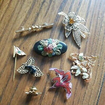 £1.70 • Buy Job Lot Vintage Brooches Tie Pin / Enamel Gem Stones Some For Spares