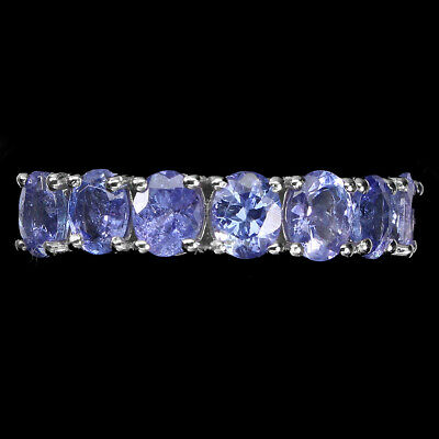 £0.70 • Buy Unheated Oval Tanzanite 5x4mm Cz 14K White Gold Plate 925 Sterling Silver Ring 7