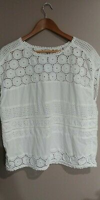 AU16 • Buy Country Road White Broderie Anglaise Cotton Top Large
