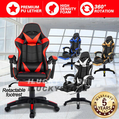 AU89.99 • Buy Adjustable Gaming Chair Office Executive Computer Racing Footrest Recliner