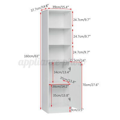 £57.99 • Buy Tall White High Bookcase Display Unit W/ Adjustable Shelves W/ 1 Door 5 Shelves