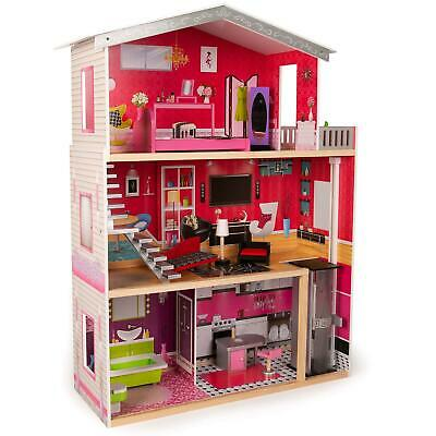£74.99 • Buy Boppi Large Wooden Dolls House Barbie Size With Lift And 10 Play Accessories New
