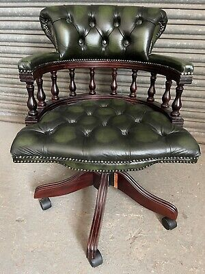 £259 • Buy Vintage Chesterfield Style Green Leather Swivel Captains Chair Office Chair