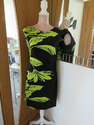 £14.99 • Buy Size 14 Roman Black And Lime Green Dress  Tunic Style Polyester 5% Elastane