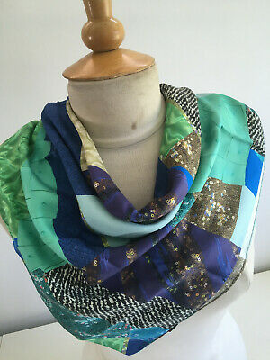 £12 • Buy Bright Colourful Greens Blues Abstract Hand Rolled Italian Silk Scarf