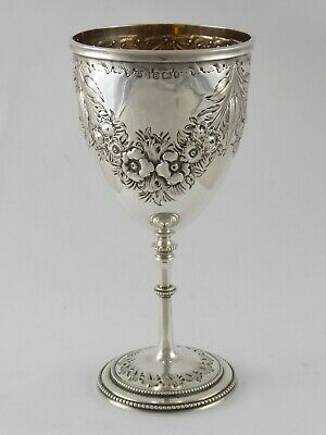 £295 • Buy FINE ANTIQUE EMBOSSED VICTORIAN SOLID STERLING SILVER GOBLET CUP 1869 143 G