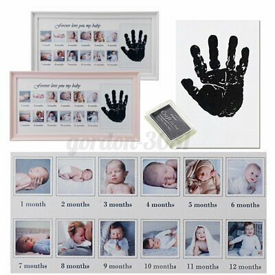 £9.66 • Buy UK Newborn Baby First Year 12 Month Footprint Handprint Picture Frame Record G1