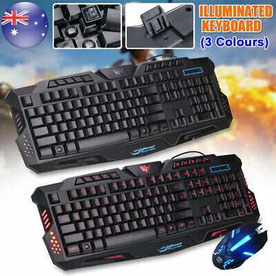 AU29.99 • Buy USB Wired Gaming Keyboard And Mouse Set For PC Laptop Backlight USB Ergonomic