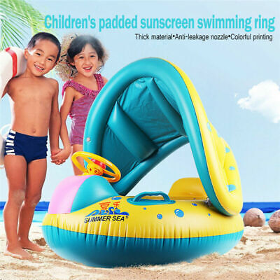 £14.99 • Buy Inflatable Baby Float Boat Seat With Shade Canopy Kids Swimming Ring Pool Aid UK