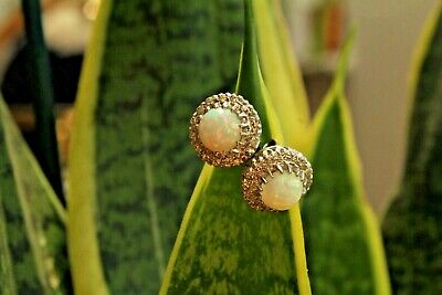 £450 • Buy 18ct White Gold Cabochon Natural White Opal And Diamond Cluster Stud Earrings