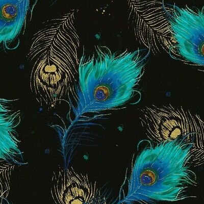 £7.95 • Buy 100% Cotton Fabric Per 50cm Timeless Treasures Peacock Plumes Feathers Metallic
