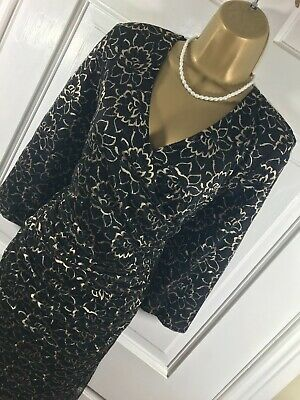 £24.99 • Buy Kaliko Black & Gold Floral Lace Lined Dress, UK 18, New Without Tags