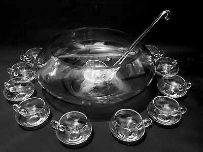 £50 • Buy Large Glass 16  Dia X 7  Deep Punch / Cocktail Bowl 10 Glass Cups And 13   Ladle