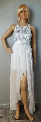 £12.99 • Buy Ladies White High/low Layered Dress With Silver & White Sequin Detail Dress -...