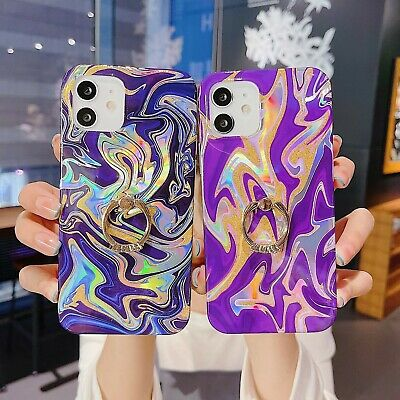 AU12.01 • Buy Watercolor Case With Diamond Ring Holder Phone For Iphone 8 XS 11 12 Cases Cover