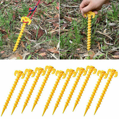 £7.39 • Buy 10PCS Plastic Stakes Support Ground Nails Pegs Screw Anchor Shelter Tent Tool BG